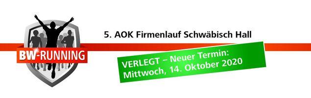 5. AOK Firmenlauf Schwäbisch Hall am Mittwoch, 14. Oktober 2020 - Start 18:30