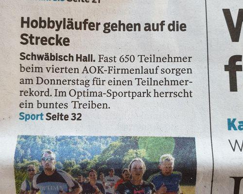 Haller Tagblatt über 4. AOK Firmenlauf